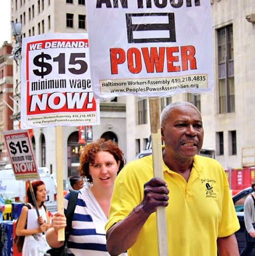 Workers want bosses to pay them a living wage. Protest in Baltimore, May 2014.WW photo: Sharon Black