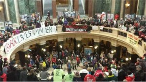 Protesters inside the Wisconsin State Capitol on Feb. 28.Photo: Ben Herrenbruck