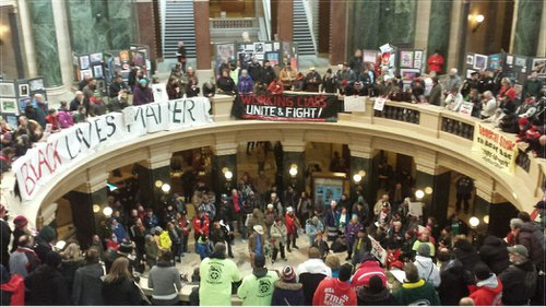 Protesters inside the Wisconsin State Capitol on Feb. 28, 2015.Photo: Ben Herrenbruck