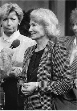 Margot Honecker, GDR minister of education, visiting a children's facility in Berlin, September 1989.Photo: Gabriele Senft