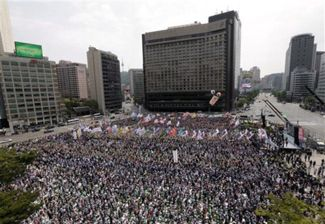 Labor unions in Seoul, south Korea.