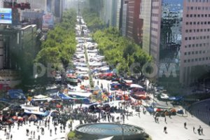 Thousands of teachers protest in Mexico City.