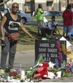 Monica Moorehead at the Michael Brown memorial in Ferguson, Mo., August 2014.