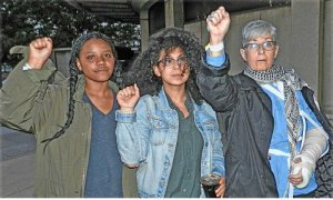 Released after 23 hours in Philly jails: Chananiah Maxwell, Andrea Jacome and Cindy Miller.WW photo: Joseph Piette