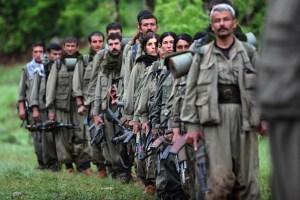 Kurdistan Workers' Party (PKK) fighters arrive in the northern Iraqi city of Dohuk.