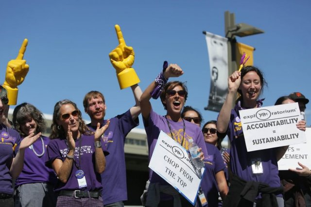 Union workers protest impending layoffs at the Exploratorium in San Francisco, Oct. 1.