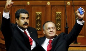 Venezuela's president, Nicolas Maduro, left, has sworn to defend the head of the National Assembly, Diosdado Cabello, right.