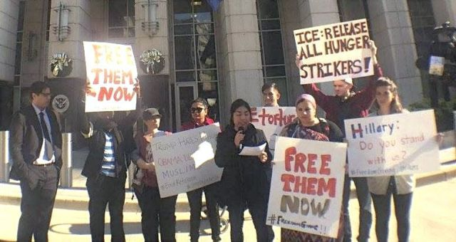 A Dec. 10 solidarity protest in front of U.S. Immigration and Customs Enforcement (ICE) headquarters in Washington, DC, demands the release of all hungerstriking detained immigrants.Photo: Yashi Mori