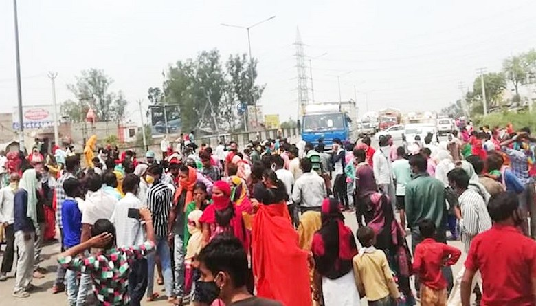 sonipat gt road block workers protest