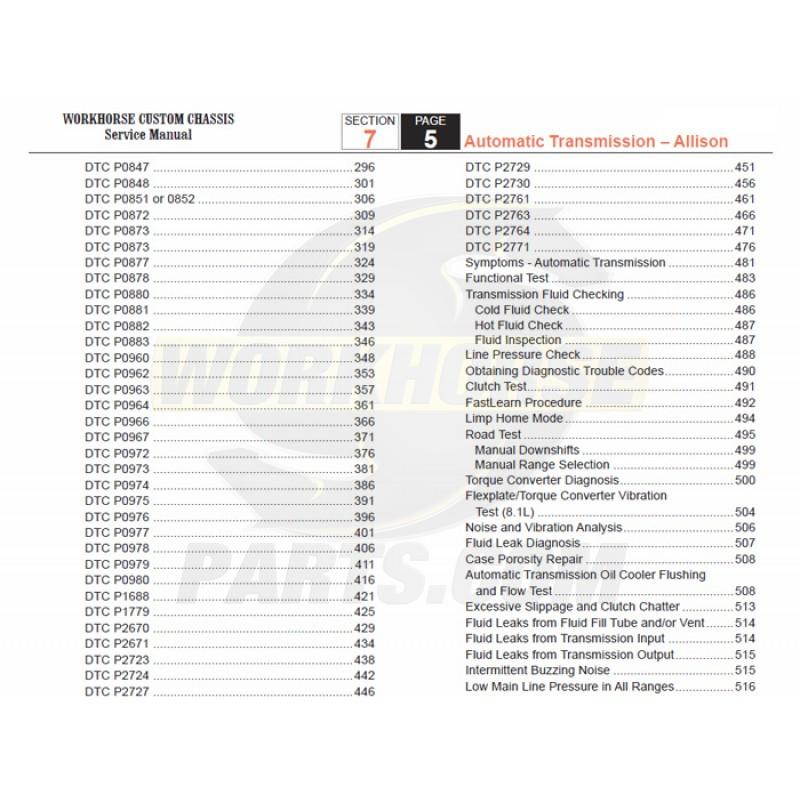2007-2008 Workhorse R26 UFO Allison Transmission Service