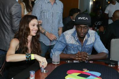 Shannon Elizabeth and Edi Gathegi at the GBK Pre-ESPY Award Lounge 2013