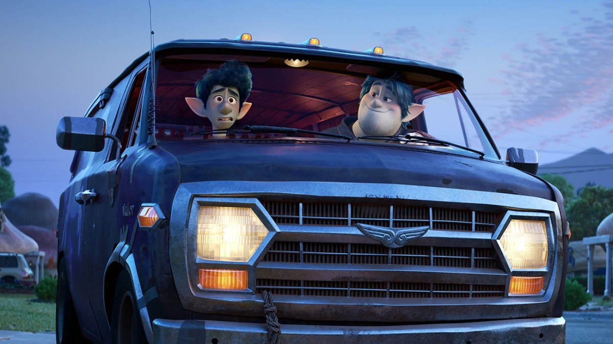 Ian (Tom Holland) and Barley (Chris Pratt) about to embark on an adventure in Disney Pixar's Onward.