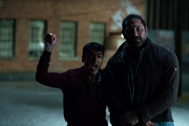 "Kumail Nanjiani as Stu and Dave Bautista as Vic in ""Stuber""."