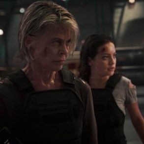 "Linda Hamilton, left, and Natalia Reyes star in Skydance Productions and Paramount Pictures' ""TERMINATOR: DARK FATE."""