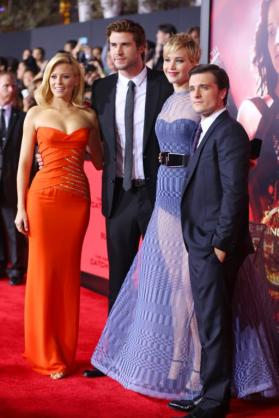 Elizabeth Banks, Liam Hemsworth, Jennifer Lawrence, Josh Hutcherson