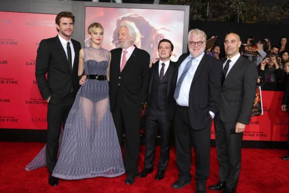 Liam Hemsworth, Jennifer Lawrence, Donald Sutherland, Josh Hutcherson, Philip Seymour Hoffman, Stanley Tucci