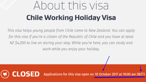 2017 working holiday New Zealand Chile visa