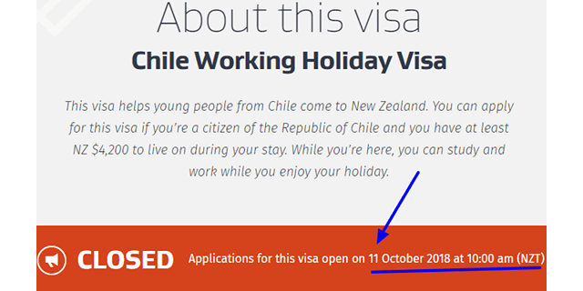 New Zealand requisitos working holiday