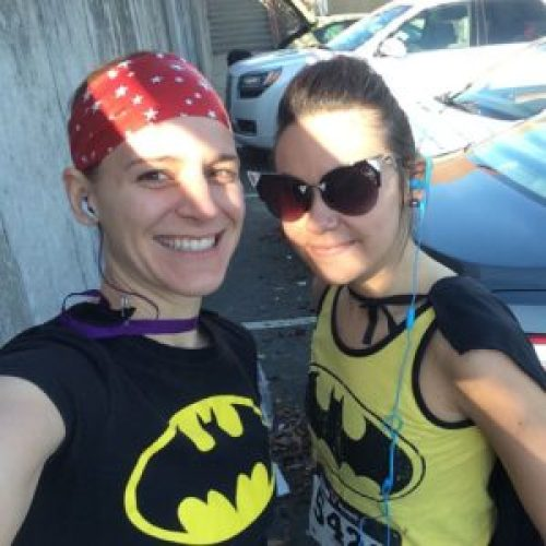 Running with my lifelong friend in a Superhero race.