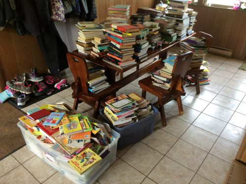 before picture of books with the konmari method