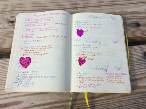 My weekly brain dump list and a few colorful days (with hearts added for privacy). ;)