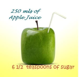 A green apple presented as an oblong with a straw sticking out of the side, like a drink carton.