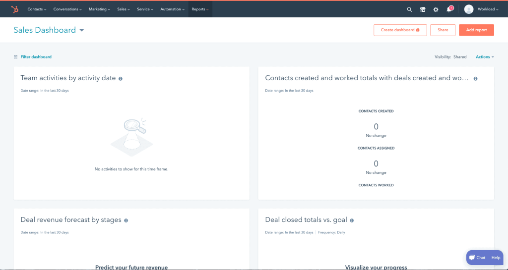 hubspot dashboard page