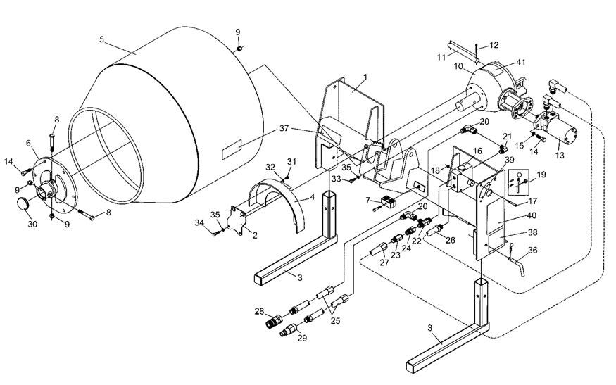 Hydraulic Concrete Mixer Model SS-590 Parts List