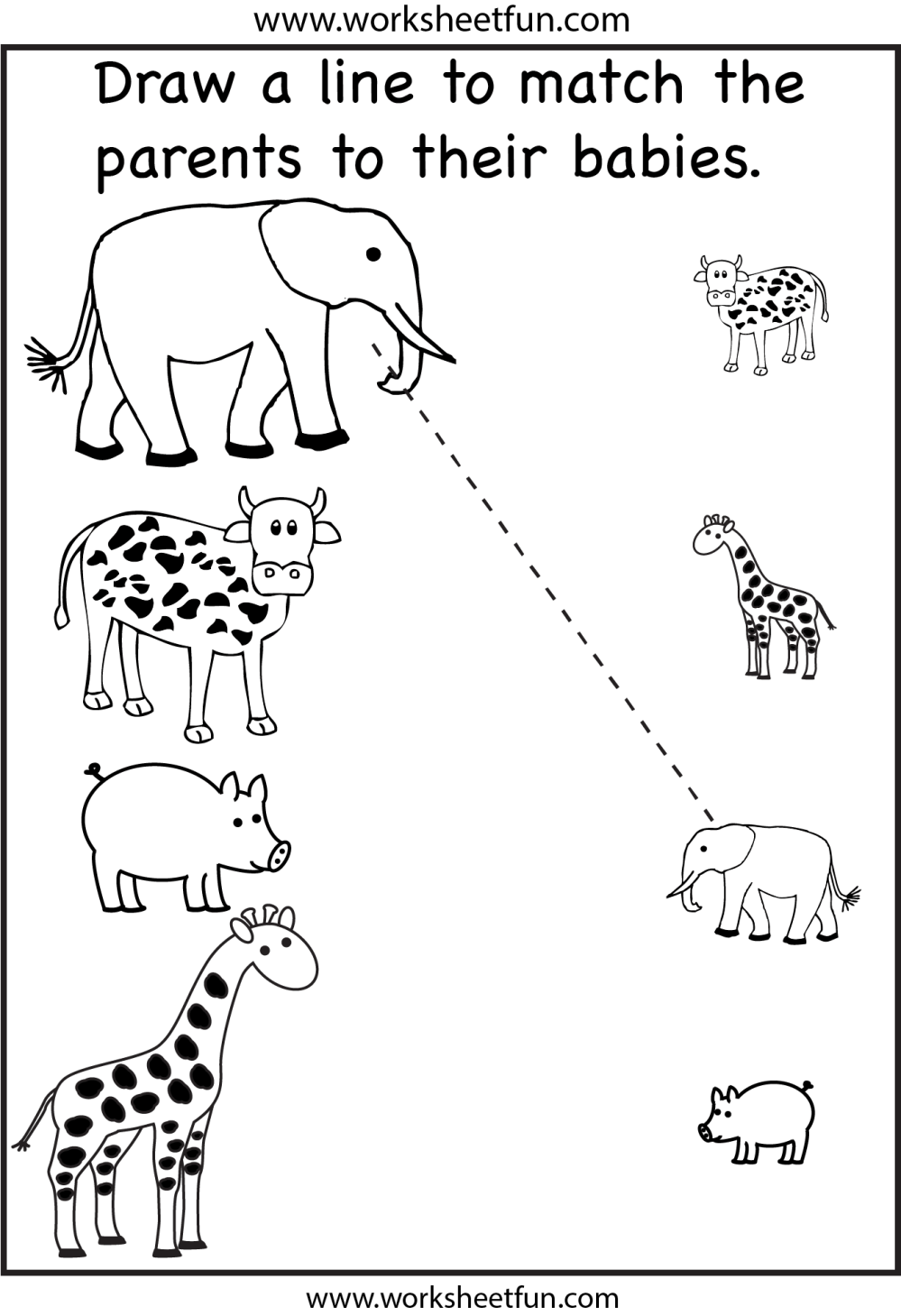medium resolution of Animal Parents and Babies – Match the Parents – 2 Worksheets / FREE  Printable Worksheets – Worksheetfun