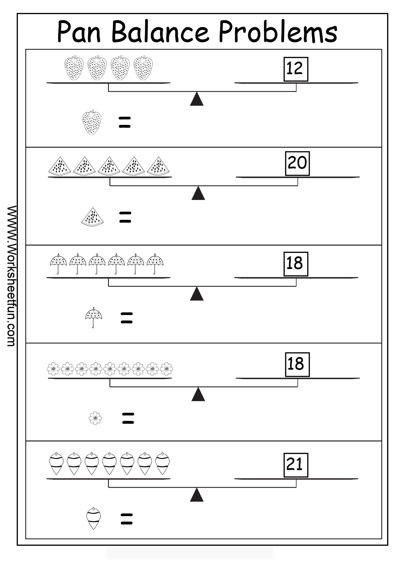 Algebra Worksheets Algebraic Reasoning Pan Balance