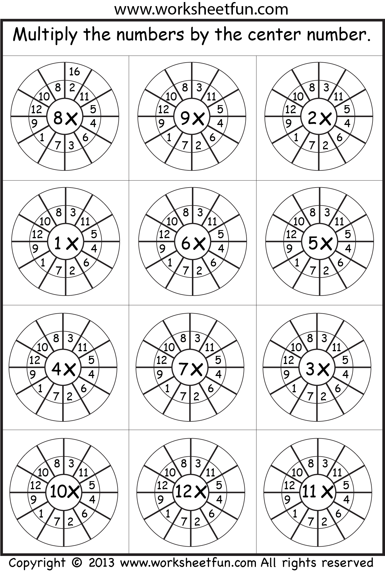 Times Tables 2 12 One Worksheet Images