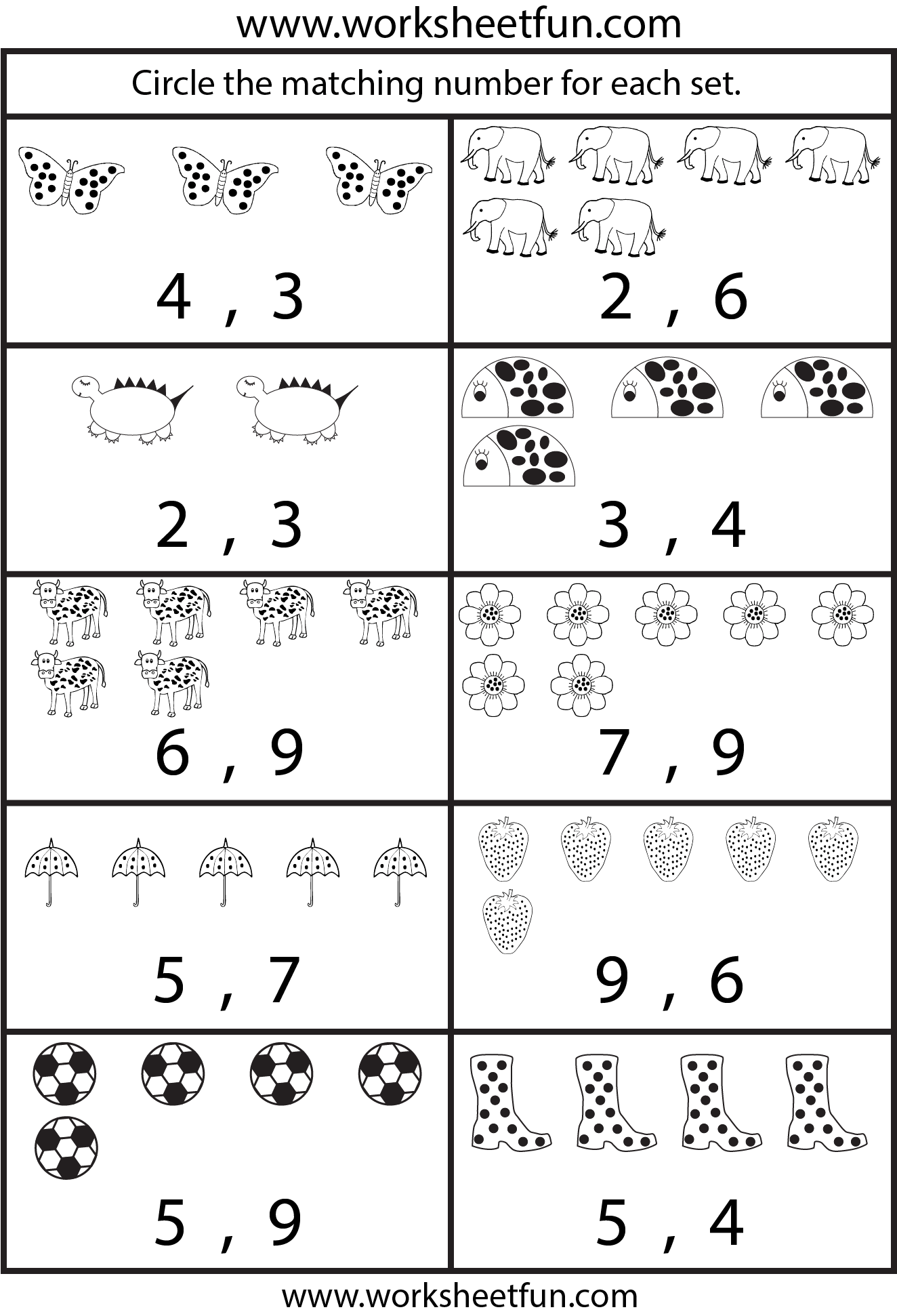 Number Sets Worksheet For Kindergarten
