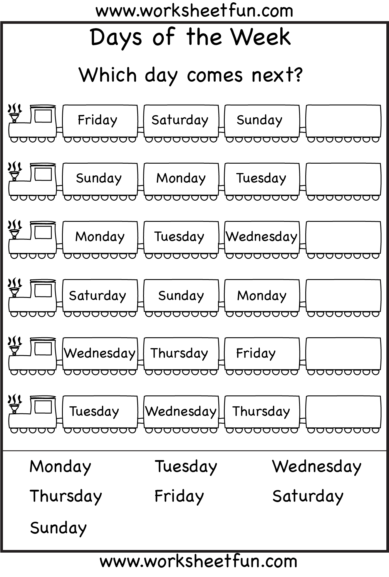Days of the Week Worksheets 1 Eval