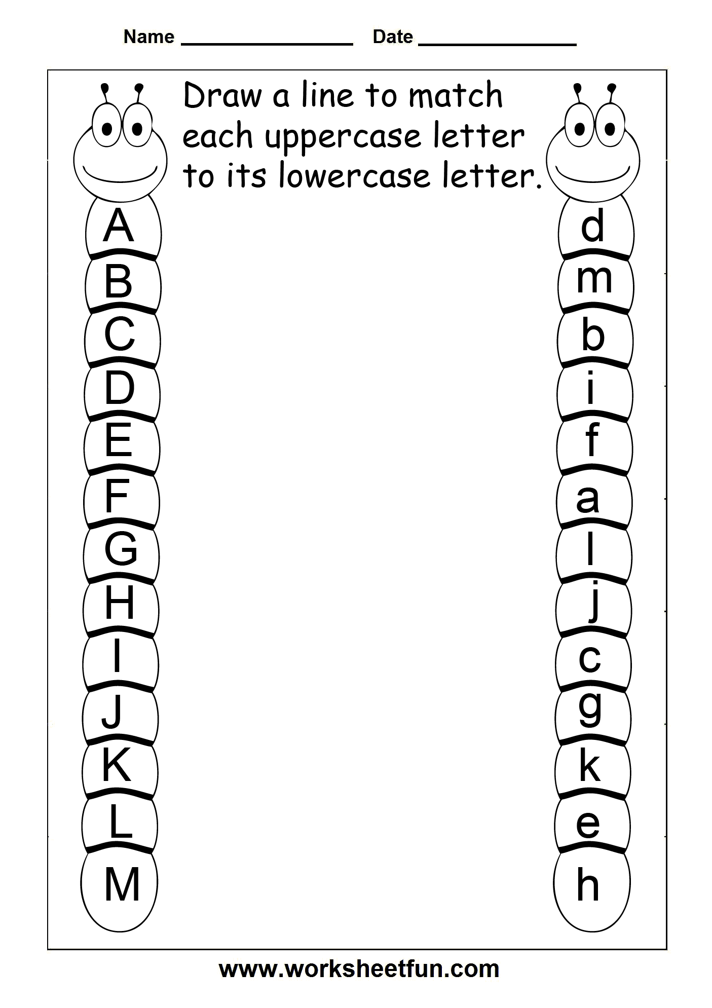 Pin Letter Matching Worksheet J M Children Draw Lines To