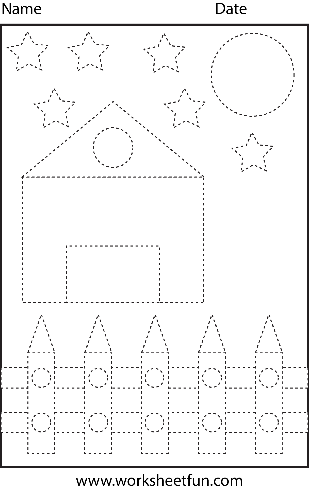 Picture Tracing Shapes 1 Worksheet Free Printable