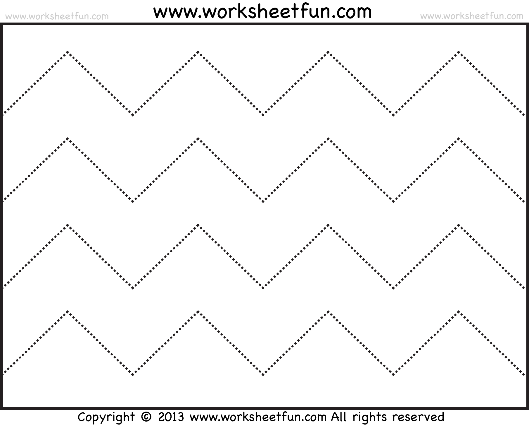 Zig Zag Line Tracing 7 Worksheets Free Printable