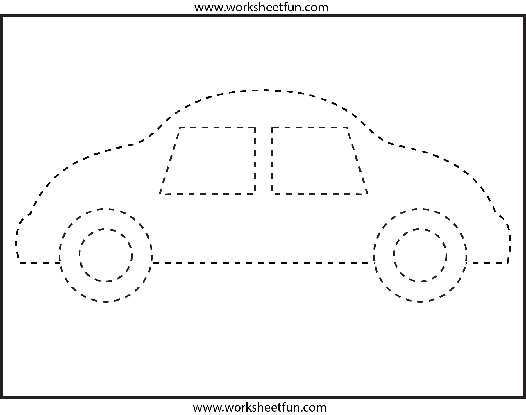 Picture Tracing Car 1 Worksheet Free Printable