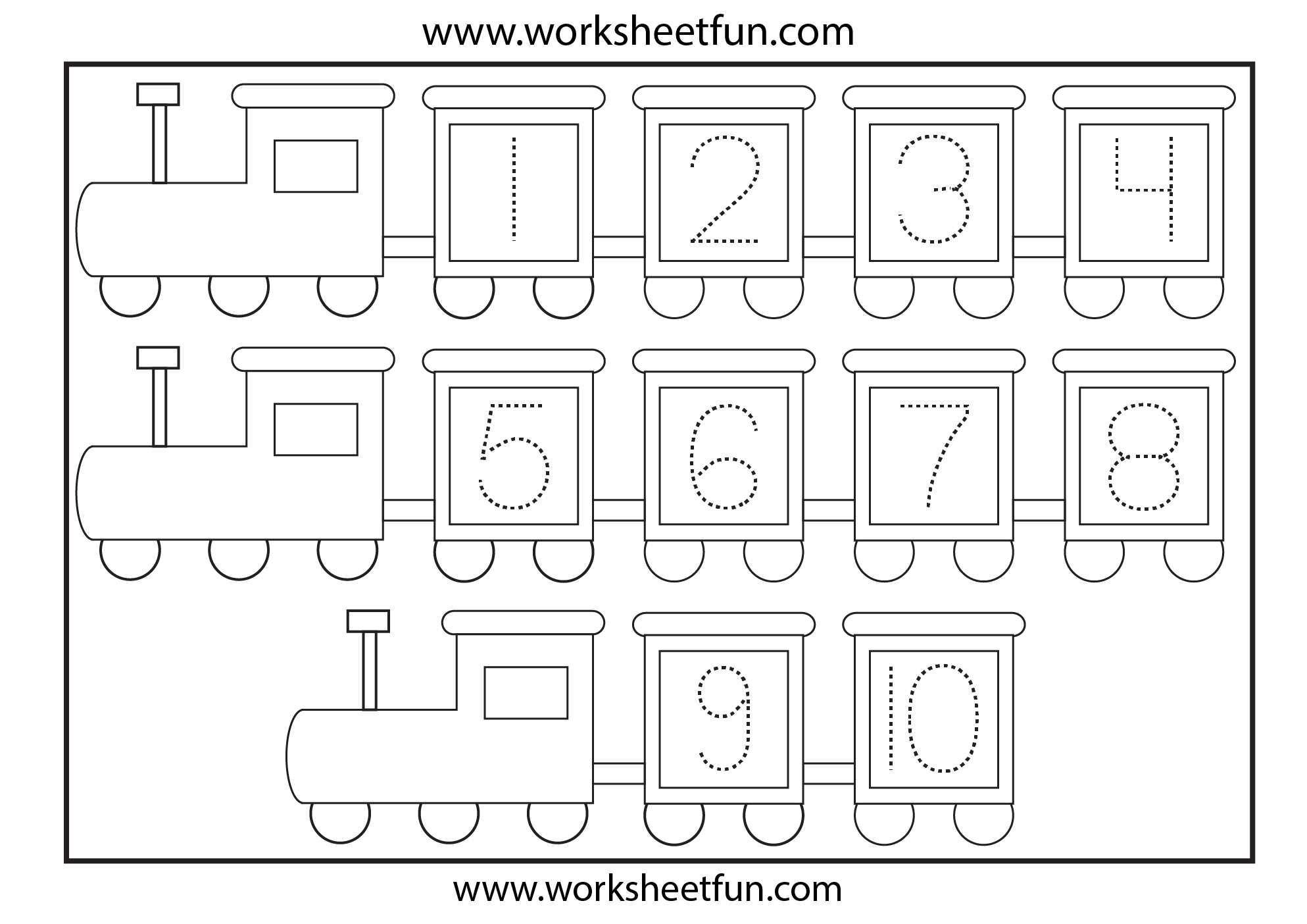 Number Coloring Pages 1 10 Worksheets Free Printable
