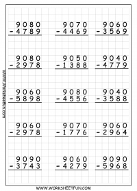 4 Digit Subtraction With Regrouping – Borrowing