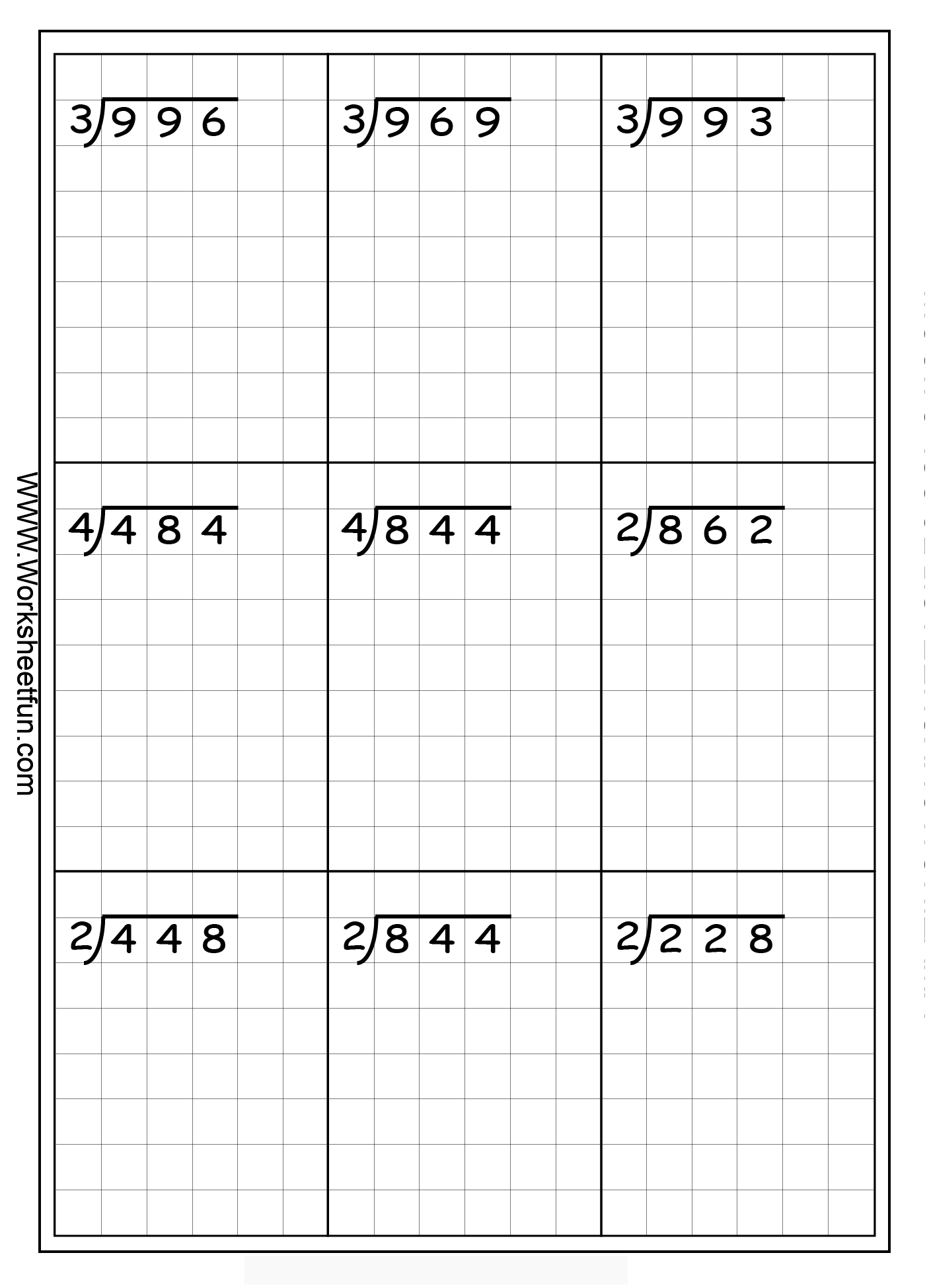 Long Division 3 Digits By 1 Digit Without Remainders