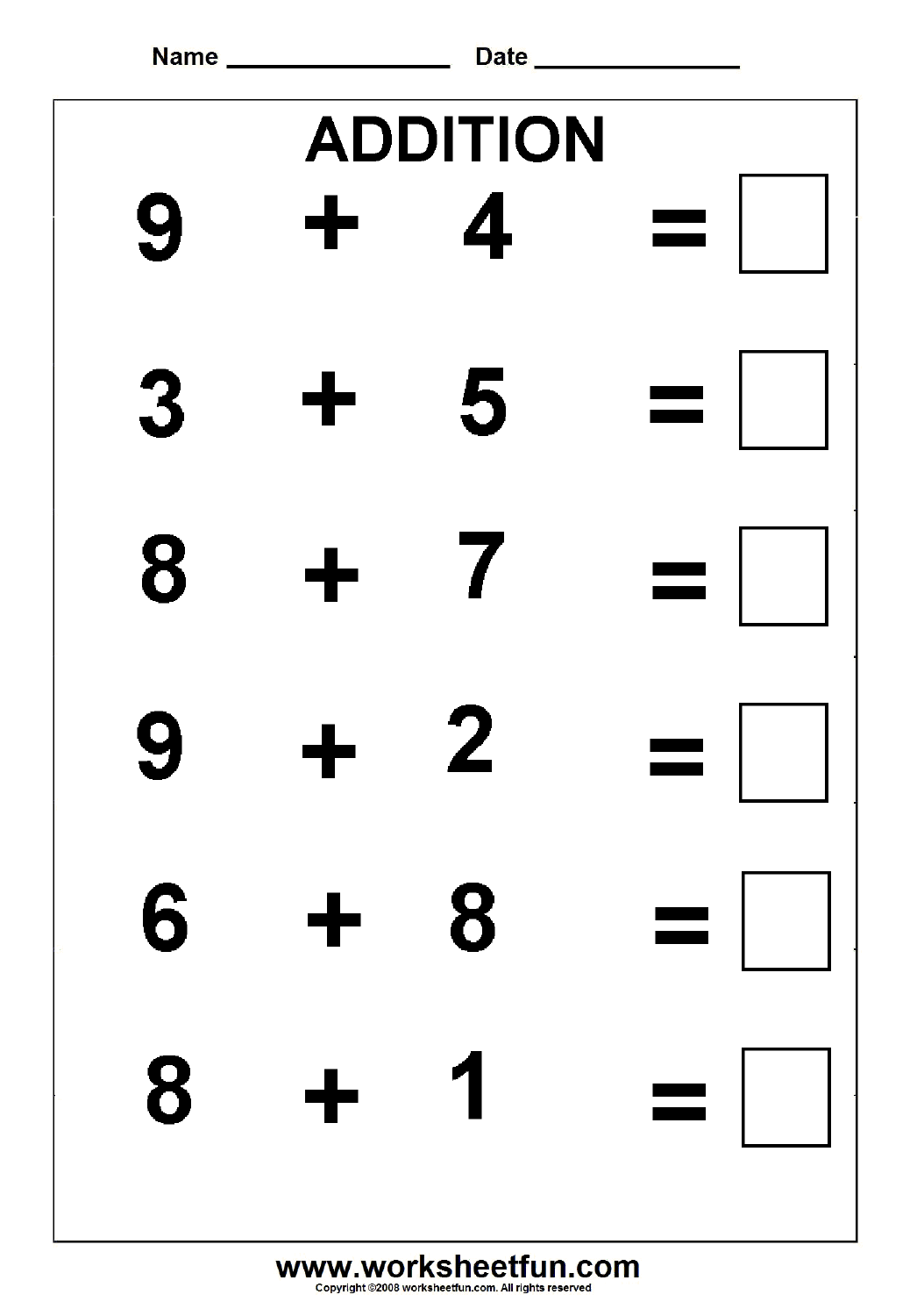 Beginner Addition 5 Kindergarten Addition Worksheets Free Printable Worksheets Worksheetfun