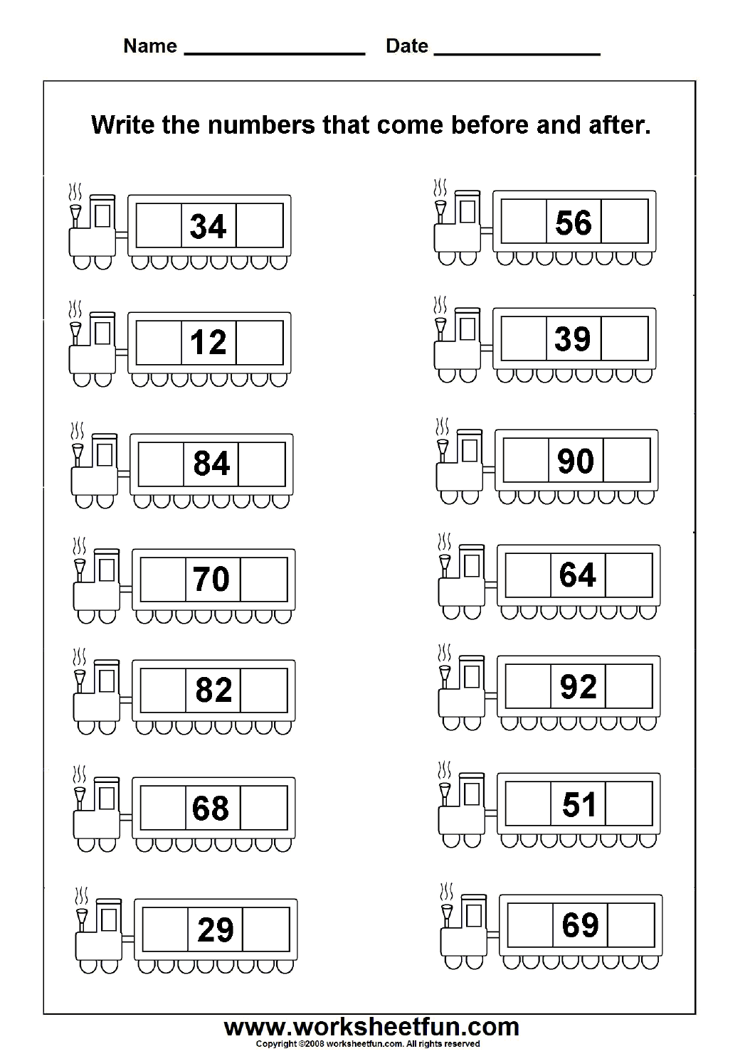 Before Amp After Numbers 2 Worksheets Free Printable