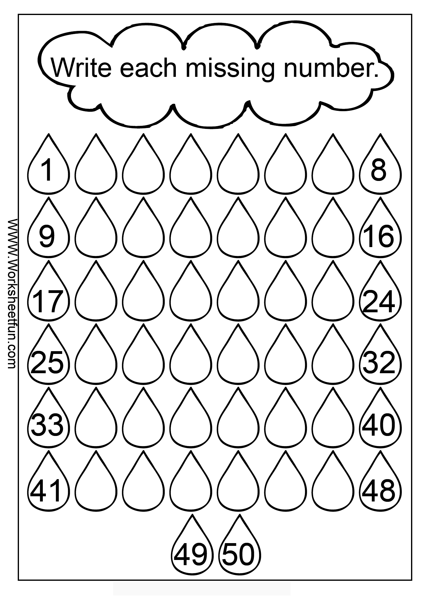 Cloud Rain Number Missing Numbers 1 50 3 Images