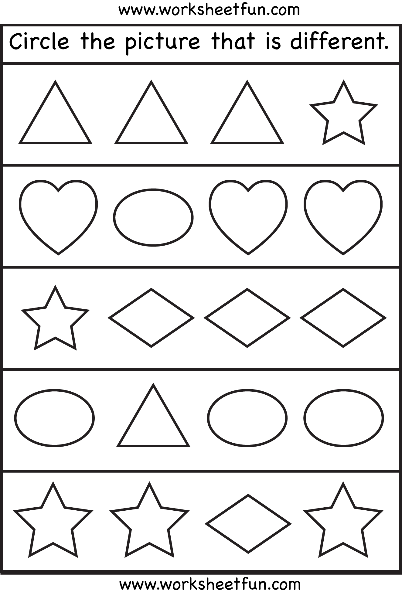 Same And Different Shapes One Worksheet Free