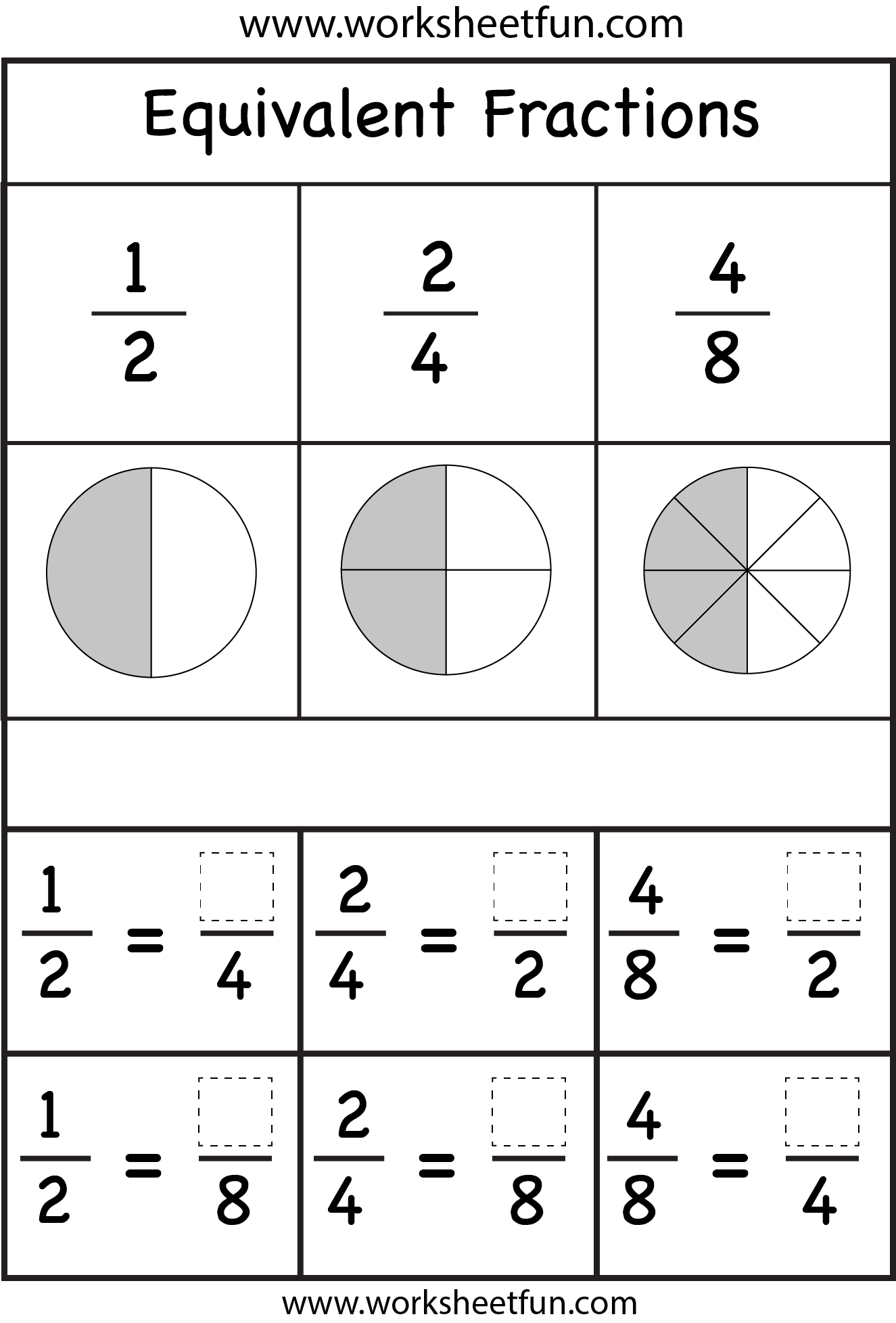 Equivalent Fractions Two Worksheets Free Printable