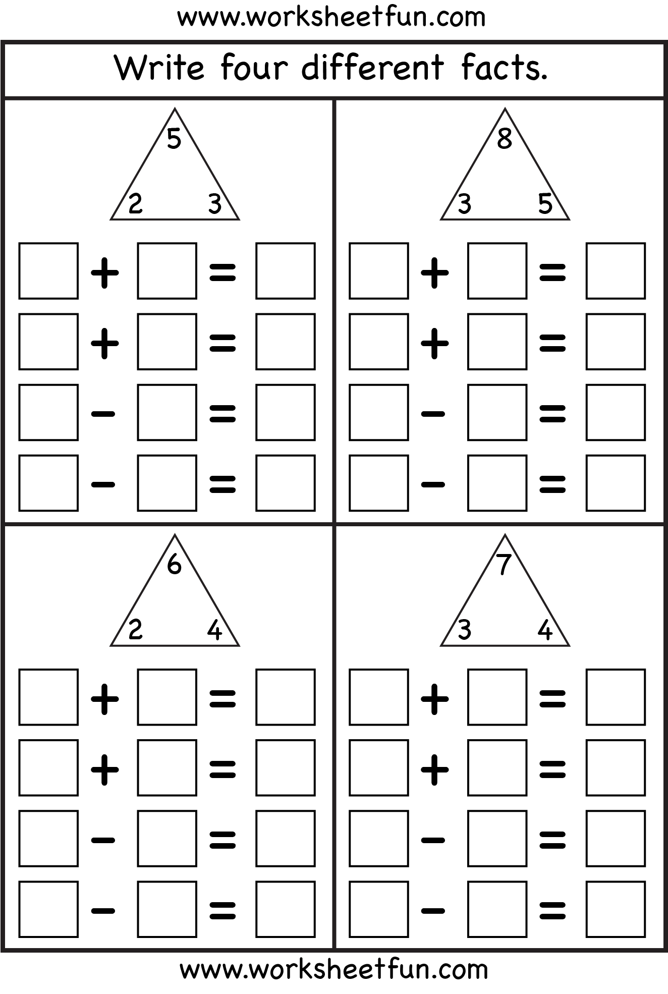 Fact Family Complete Each Fact Family 4 Worksheets