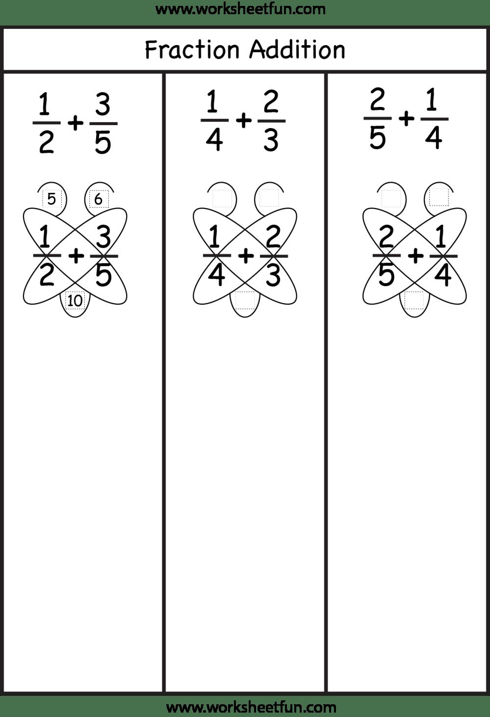 medium resolution of Fraction Addition – Butterfly Method / FREE Printable Worksheets –  Worksheetfun