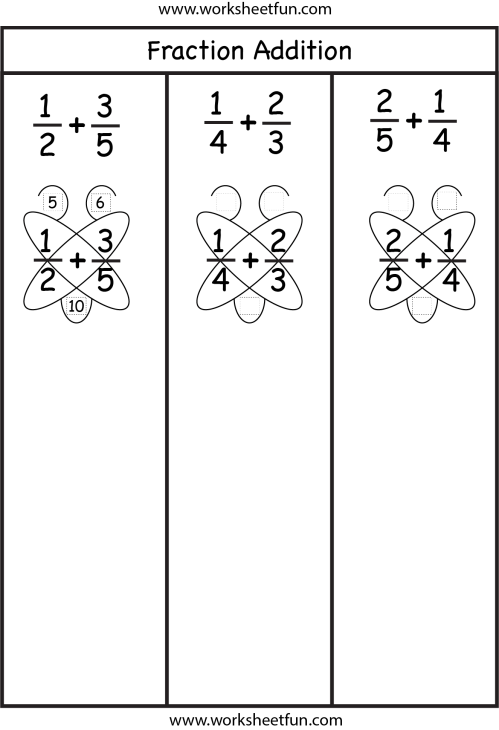 small resolution of Fraction Addition – Butterfly Method / FREE Printable Worksheets –  Worksheetfun
