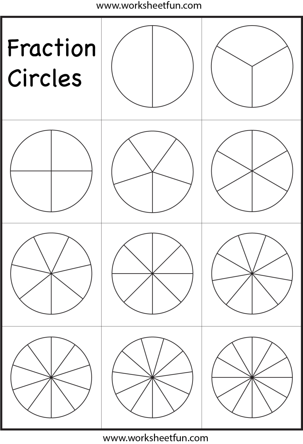 medium resolution of Fraction Circles Template – Printable Fraction Circles – 1 Worksheet / FREE  Printable Worksheets – Worksheetfun