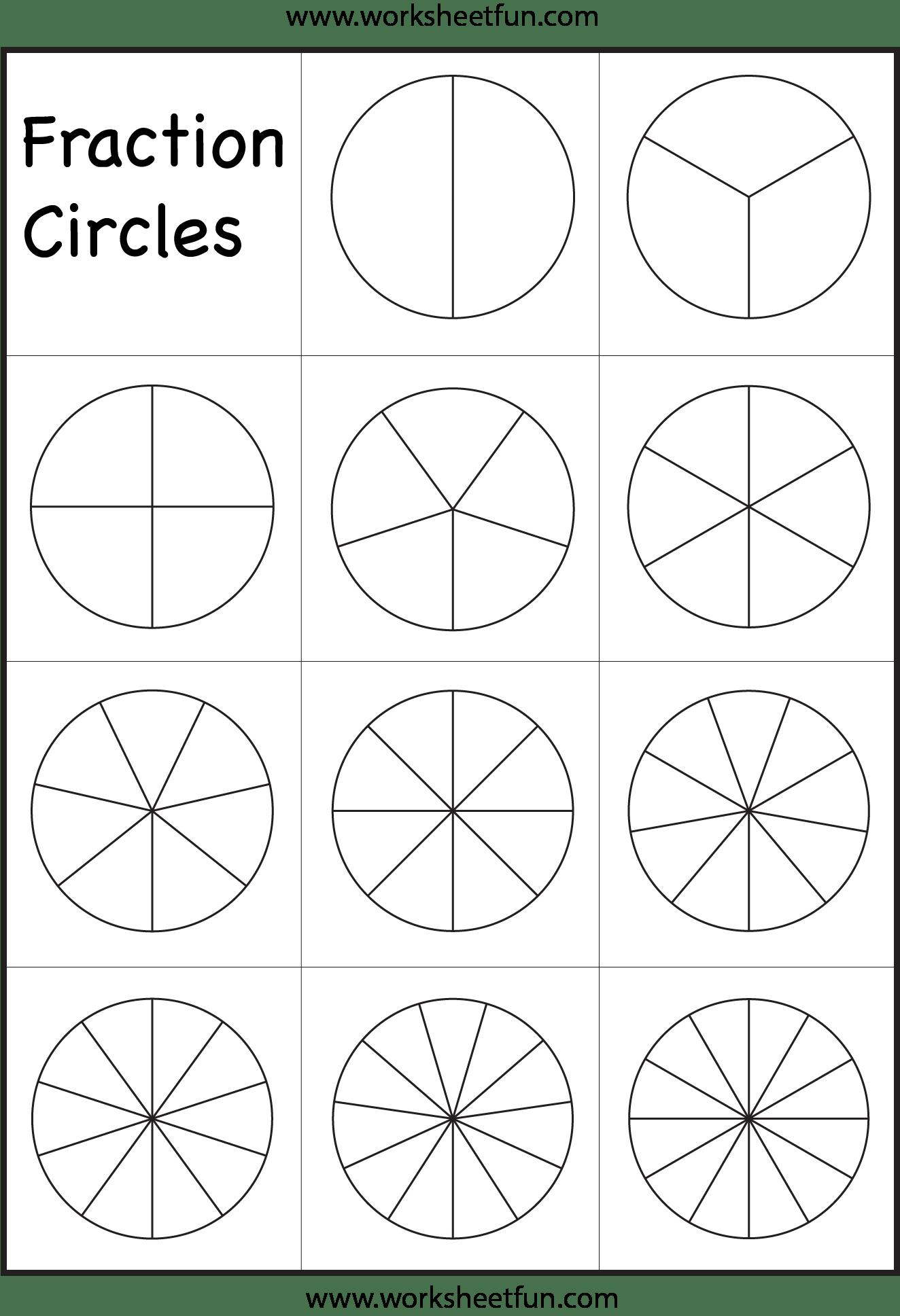 hight resolution of Fraction Circles Template – Printable Fraction Circles – 1 Worksheet / FREE  Printable Worksheets – Worksheetfun